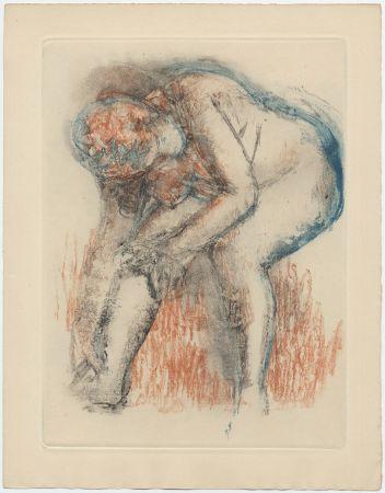 Acquaforte E Acquatinta Degas - Étude de nu se massant la cheville (vers 1896)