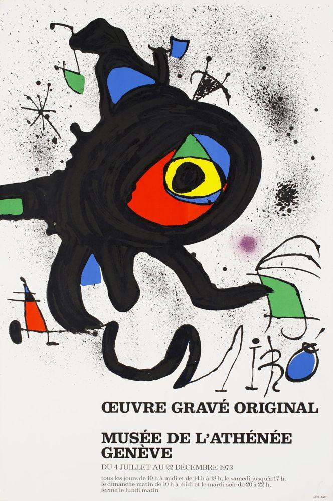 Manifesti Miró - ŒUVRE GRAVÉ ORIGINAL. MUSÉE DE L'ATHÉNÉE, GENÈVE 1973. Affiche originale.