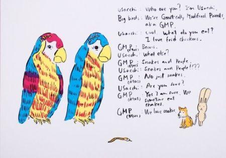 Litografia Kaga - 2 Genetically Modified Parrots
