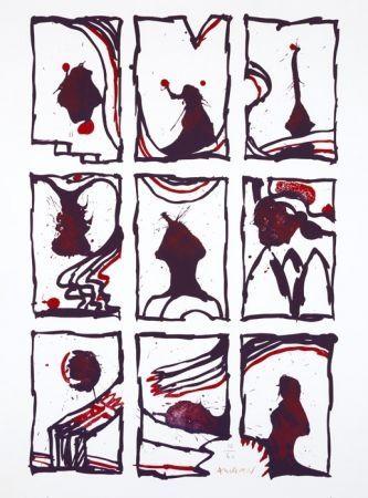 Litografia Alechinsky - 3 x 3