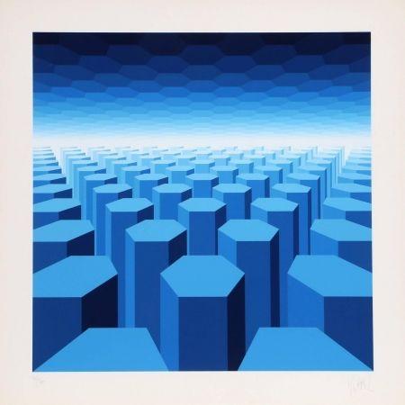 Serigrafia Yvaral - 50 Shades of Blue