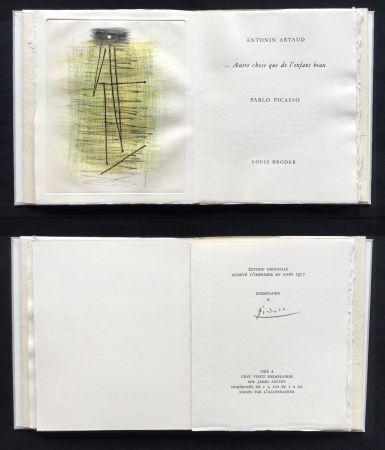 Libro Illustrato Picasso - A. Artaud: AUTRE CHOSE QUE DE L'ENFANT BEAU. Célèbre gravure originale en couleurs (1957).