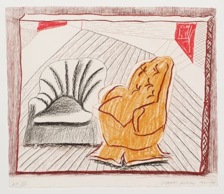 Litografia Hockney - A Picture Of Two Chairs