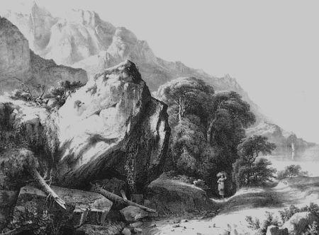 Litografia Fontanesi - A Saint-Gingolph (Lac de Genève)
