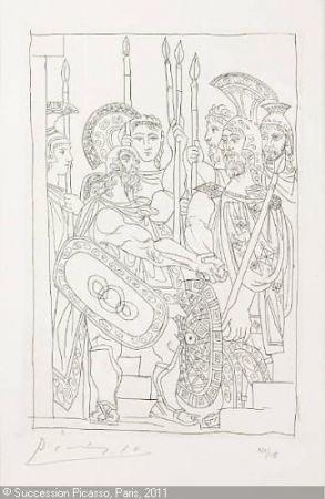 Incisione Picasso - Accord Entre les Guerriers de Sparte et d'Athens