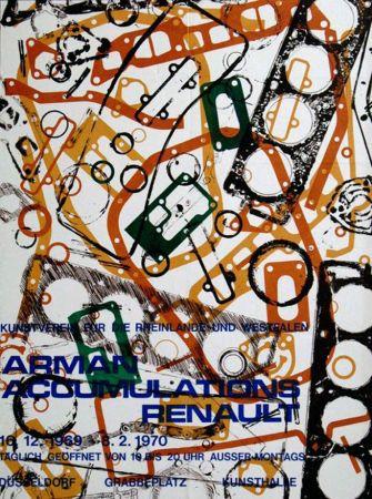 Litografia Arman - '' Accumulations Renault ''  -  Dusseldorf