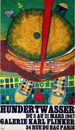 Litografia Hundertwasser - Affiche Exposition Galerie Karl Flinker 1967