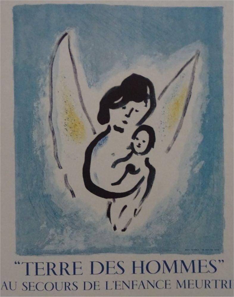 Litografia Chagall - Affiche lithographie Terre des Hommes
