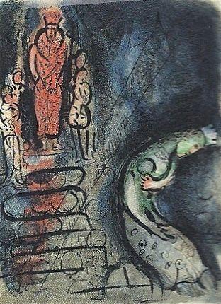 Litografia Chagall - Ahasuerus sends Vasthi away