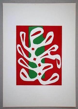 Litografia Matisse - Algue Sur Fond Rouge Et Vert