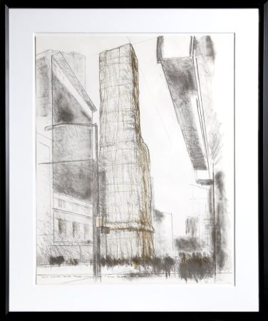 Litografia Christo - Allied Chemical Tower, Packed, Project for Number 1 Times Square from