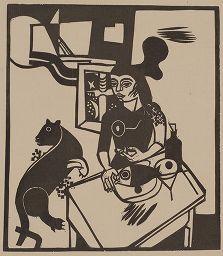 Incisione Su Legno Campendonk - Am Tisch Sitzende Frau Mit Katze Und Fisch / Woman Sitting At Table With Cat And Fish