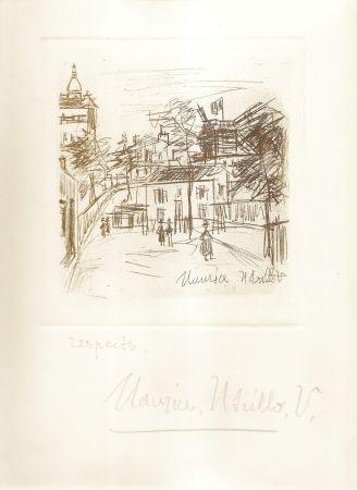 Incisione Utrillo -  Amitiés de Montmartre