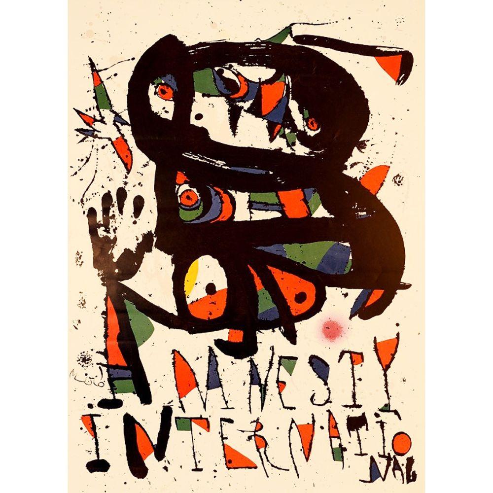 Litografia Miró - AMNESTY INTERNATIONAL 1975. Lithographie. Tirage de luxe sur Arches.