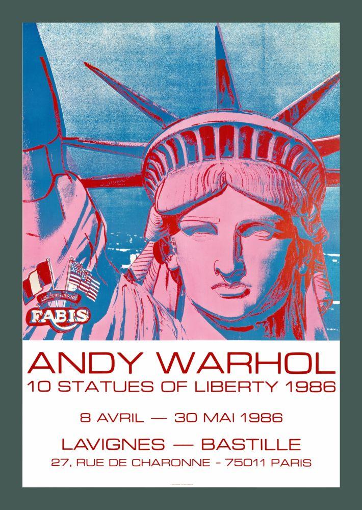 Litografia Warhol - Andy Warhol '10 Statues Of Liberty' 1986 Original Pop Art Poster with COA