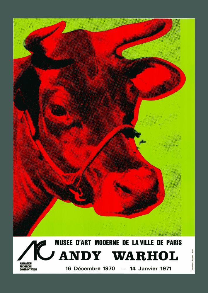 Litografia Warhol - Andy Warhol 'Cow Wallpaper (Green)' 1970 Hand Signed Original Pop Art Poster