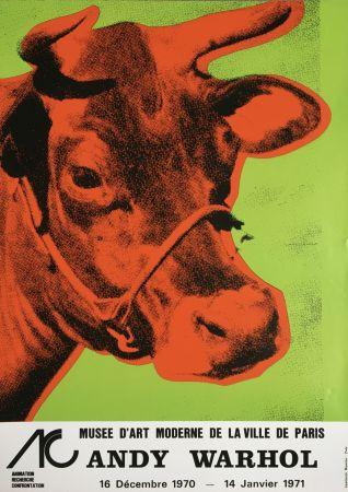 Non Tecnico Warhol - Andy Warhol 'Cow Wallpaper (Green)' 1970 Original Pop Art Poster with COA