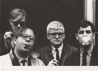 Fotografie Hopper - Andy Warhol, Henry Geldzahler, David Hockney and Jeff Goodman