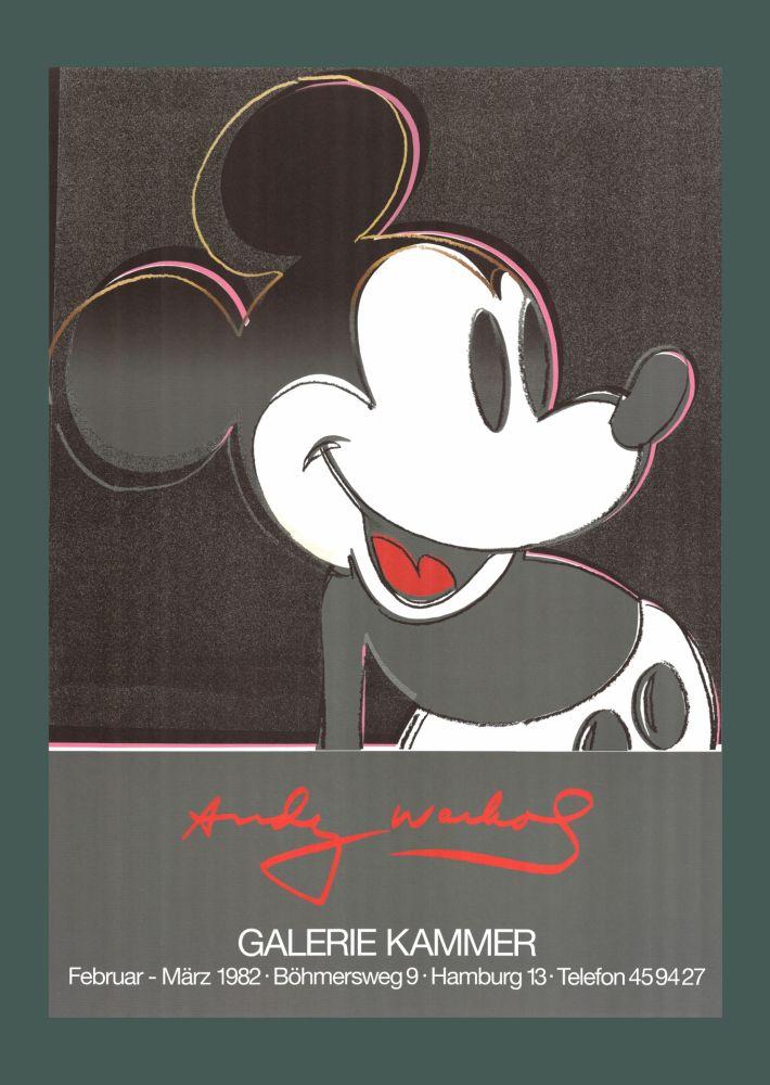 Litografia Warhol - Andy Warhol 'Mickey' 1982 Plate Signed Original Pop Art Poster with COA
