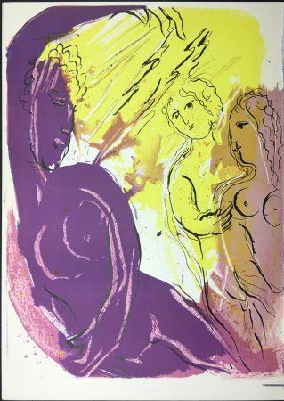 Litografia Chagall - Ange Du Paradis. Lithographie Originale Pour La Bible. 1956.