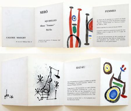 Litografia Miró - AQUARELLES - FEMMES - HAÏ-KU. Carton d'invitation. 1967.