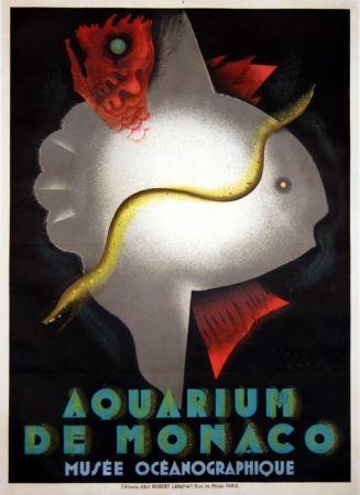 Litografia Carlu - Aquarium de Monaco