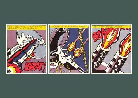 Litografia Lichtenstein - 'As I Opened Fire (Triptych)' Pop Art Poster Print Set