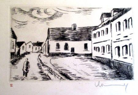 Incisione Vlaminck - Aspect de la Grand rue, Visage des Maisons II