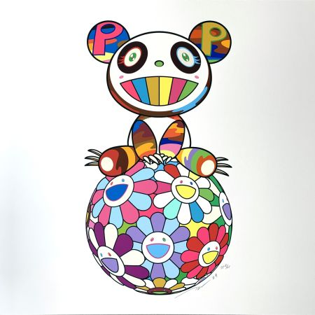 Serigrafia Murakami - Atop a Ball of Flowers, A Panda Cub Sits Properly