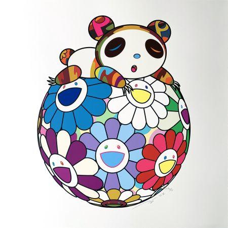 Serigrafia Murakami - Atop a Ball of Flowers, A Panda Cub Sleeps
