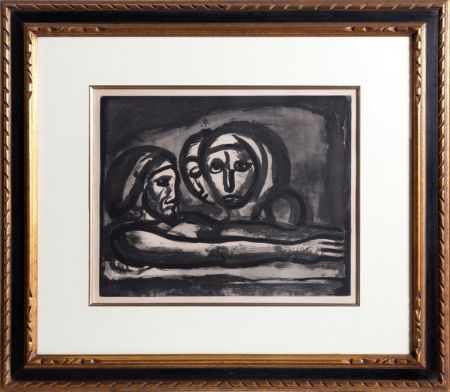 Acquatinta Rouault - Au Presser Le Raisin Fut Foule' (In the Winepress the Grapes were Crushed ) from the Misere Series, Plate 48