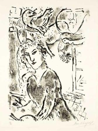 Litografia Chagall - Autoportrait à la fenêtre