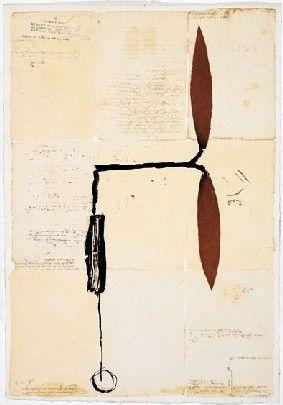 Multiplo Riera I Aragó - Avió hèlix vermella sobre manuscrits