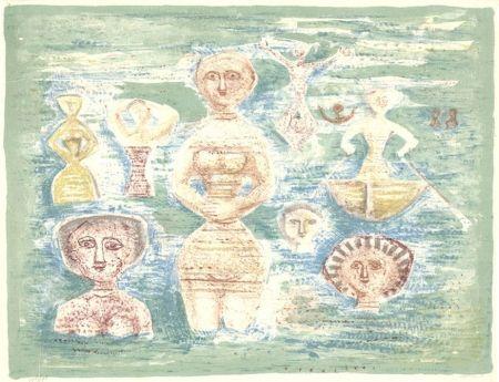 Litografia Campigli - Bagnati
