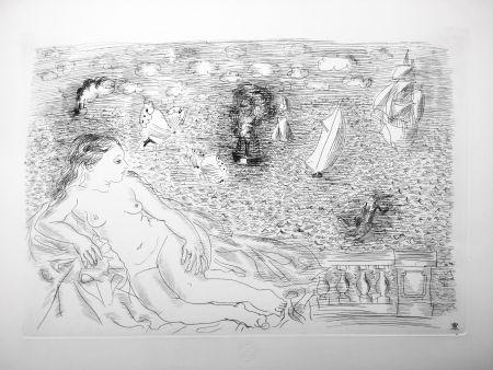 Acquaforte Dufy - BALCON SUR LA MER (Baigneuse aux Papillons). 1925