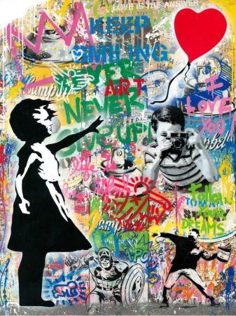 Non Tecnico Mr. Brainwash - Balloon Girl - Banksy Record - Unique Mixed Media Stencil