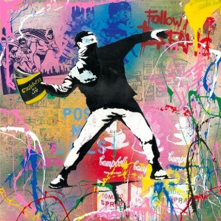 Serigrafia Mr Brainwash - Banksy Thrower, 2015