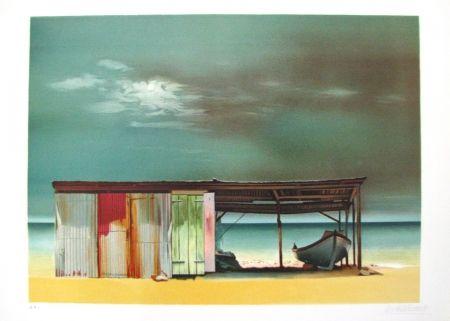 Litografia Battut - Baraque sur la plage