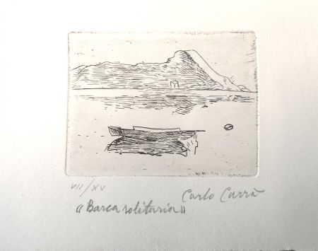 Acquaforte Carra - Barca solitaria