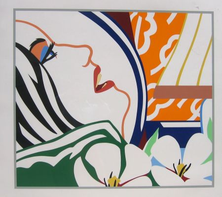 Serigrafia Wesselmann - Bedroom Face with Orange Wallpaper
