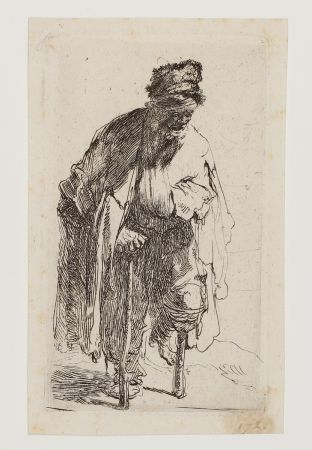 Incisione Rembrandt - Beggar with a wooden Leg