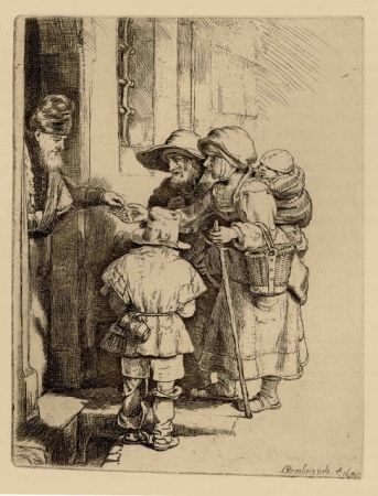 Incisione Rembrandt - Beggars Receiving Alms at the Door of a House