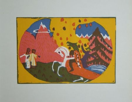Incisione Su Legno Kandinsky - Berge - Klänge, edition Pieper, 1913