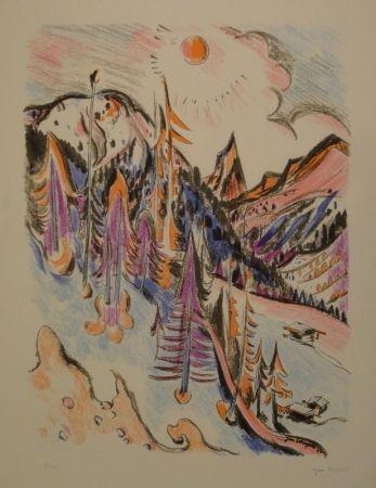 Litografia Wiegers  - Berglandschaft bei Davos mit Tinzenhorn