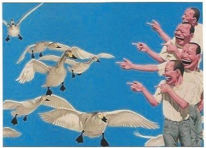 Serigrafia Minjun - Big swans