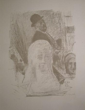 Litografia Amiet - Bildnis des Künstlers mit Büste der Gattin