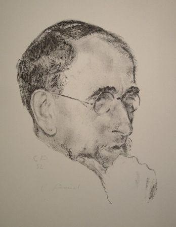 Litografia Amiet - Bildnis Ernst Kreidolf in Dreiviertelansicht
