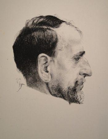 Litografia Amiet - Bildnis Erst Kreidolf im Profil