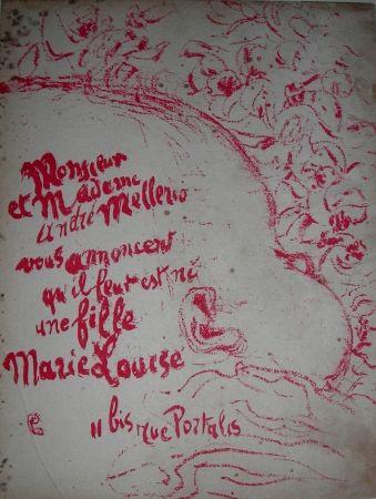 Litografia Bonnard -  Billet de naissance de Marie Louise Mellerio