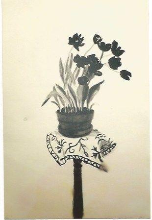 Litografia Hockney - Black Tulips